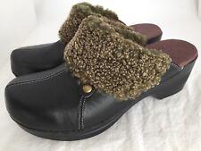 SANITA Debbie Black Leather Shearling Collar Mule Clogs Shoes Women's Size 40