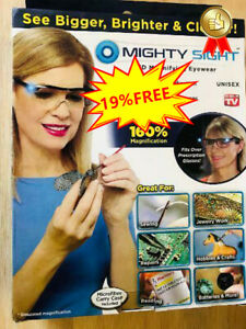 NEW Mighty Sight Led Magnifying Eyewear Glasses Original Box As Seen on TV #60