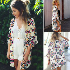 Womens Boho Chiffon Shawl Kimono Cardigan Summer Coat Beach Bikini Cover Up Tops