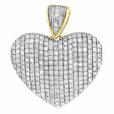 Diamond Heart Pendant Ladies 10K Yellow Gold Domed Love Round Cut Charm 0.80 Tcw