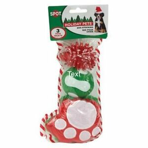 1 SPOT ETHICAL HOLIDAY STOCKING 3 PIECE DOG TOY CHRISTMAS. TO THE USA
