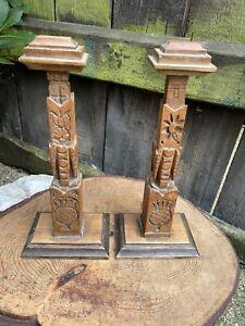 Vintage 1920s Scottish HAND CARVED WIG HAT STANDS folk art wood mantel cenotaph