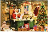 Advent Calendar Card SANTA READING LETTERS Christmas Weihnacht Germany
