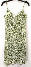 Dress Ann Taylor Womens Size 2 Olive Green White Floral Swirl Tank Cami