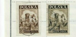 POLAND 1946 - BEDZIN CASTLE - SG 568 (olive) & 568a (brown) Imperf. - Fine used