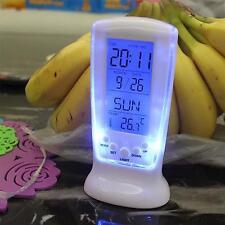 LED Screen Digital Backlight E Clocks Snooze Thermometer Calendar Temperature SM