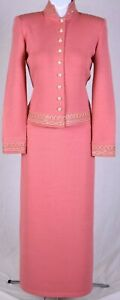 ST.JOHN Evening Womens Pink Gold Studs Sequin Trim Rhinestone Jacket Skirt Sz 4