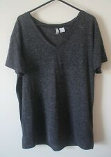 H&M Top Tshirt Size S Linen Blend Relaxed Fit Grey/Black Fleck