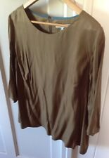BODEN CLAIRE Size 12-14 SILK Bell Sleeve Top in Antique Gold. BNWT.