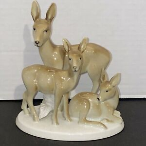 Vintage Erphila Germany Deer &  Fawns Figurine Mother & Baby animal Figurine