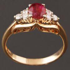& Diamond, Filigree Woman's Estate Ring Fabulous, Solid 14K Yellow Gold, Ruby