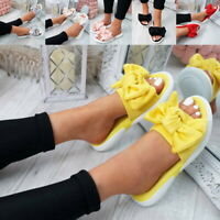 US Women Ladies Bow Peep Toe Flat Slippers Sandals Slip On Sliders Shoes Size SH