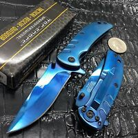 Tac Force Spring Assisted Open All Blue Tactical Small Rescue Pocket Knife