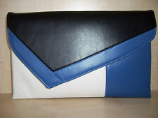 OVER SIZED ROYAL BLUE, WHITE & BLACK asymmetrical faux leather clutch bag.