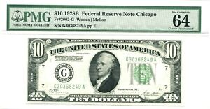 1928B $10 Federal Reserve Note Chicago, Fr#2002-G, PMG Choice New 64EPQ