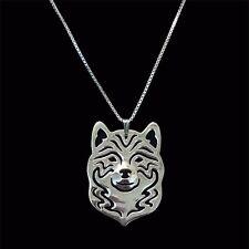 Halskette mit Shiba Inu - Hunde Kopf Anhänger. Silberüberzogen. Hund Schmuck
