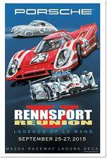 Original Porsche Rennsport Reunion 5 Laguna Seca poster. Signed by Vic Elford