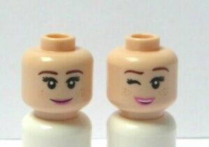 Lego 1 Flesh Minifigure Reversible Head Female Girl Smile Wink Anna Frozen