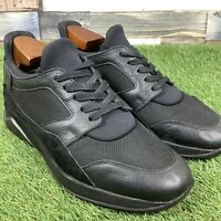 UK7 Mens MALLET Trainers - High Quality Designer Shoes - All Black Leather/Suede