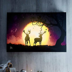Reindeer Sunset LED Canvas