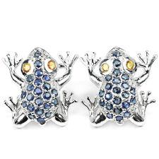 Ohrringe Frosch Saphir blau gelb 925 Silber 585 Weißgold