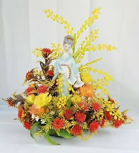 VTG Centerpiece Floral Arrangement Geisha Figurine Plastic Flowers Green Glass