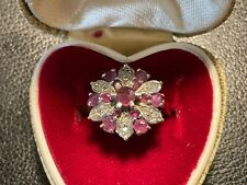 VINTAGE 9 CT/K/CARAT GOLD DIAMOND AND RUBY COCKTAIL  DRESS RING SIZE M,( 3.54g.)