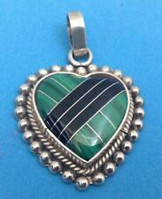 Inlayed Green Malachite And Black Onyx Taxco 925 Sterling Silver Heart Pendant