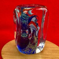 Murano Glass Aquarium Cube Paperweight - Dolphin