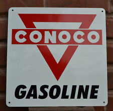 CONOCO Metal Gas Station Pump Sign Red Triangle Advertising Garage Free Shipping