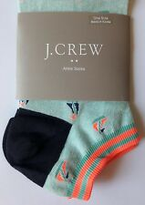 NWT Women's J. CREW Cotton-Blend ANKLE SOCKS Mint Green & Orange Sailboat Print