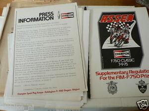 1975 F750 FIM MOTO RACE ASSEN PRESS INFO F1 CECOTTO,SHEENE,HARTOG,MIDDELBURG