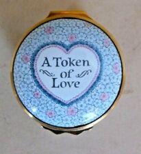"Halcyon Days Enamel Trinket Box ""A Token of Love"" England Circa 1970's"