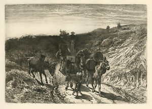 "Peter Moran ""A Burro Train, New Mexico"" original etching"