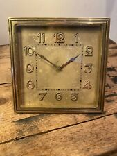 ⭐️ 8 Days 6 Rubis Brass Wind Up Mantel Desk Clock Art Deco Rare 💫