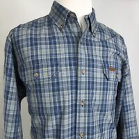 CARHARTT LONG SLEEVE BLUE PLAID BUTTON DOWN WORK SHIRT MENS SIZE L
