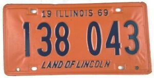 Illinois 1969 Vintage License Plate Classic Car Tag Collector Man Cave Pub Gift