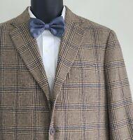 Arthur & Fox Men's Cashmere Brown Plaid Sport Coat Jacket 40 Short