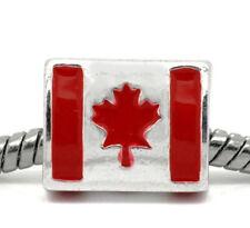 Canadian Flag Red Enamel Canada Maple Leaf Charm for European Bead Bracelets