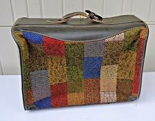 Vintage French Luggage Company Plaid Tapestry & Leather Suitbag 48 x 24 X 6