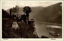 Trechtingshausen AK ~1940 Burg Rheinstein Rhein Schiff Dampfer Panorama Blick