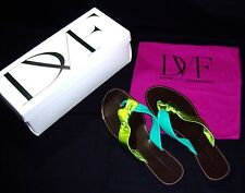 DIANE von FURSTENBERG, DVF '' DAWN '' SANDALS  - GREEN METALLIC  9.5M NIB $220