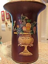 Painted Vase; Maroon / Brown Background with painted urn, fruit and birds; used