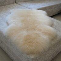 105cm Ultra Fleece Single Sheepskin Rug Ivory Long Australia Lambskin Fur Carpet