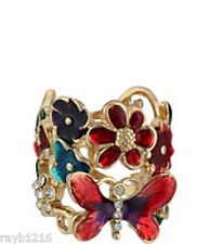NWT Guess Gold Metal-Color Enamel-Clear Rhinestones Butterfly Flowers Ring Sz 8