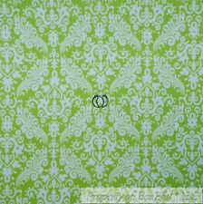BonEful Fabric Cotton Flannel Green White Flower Damask Girl Baby Leaf BTY SCRAP