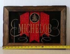Vintage Michelob Beer Wood Framed Sign with Red Foil