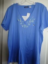 Basic Editions Womens Med Blue & White Blouse XL Cotton / Poly Embroidered NEW