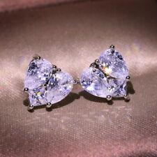 Luxury White Sapphire CZ Heart Stud Earrings 925 Silver Women Wedding Jewelry