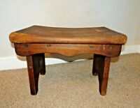 Antique Solid Oak Rustic Country Stool Scooped Rectangular Seat Metal Fixtures